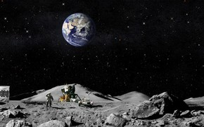 los astronautas, Los estadounidenses, luna, tierra, bandera