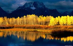 золотая,  осень,  вода,  горы,  контраст