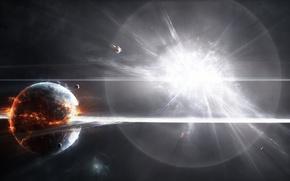 планета,  звезда,  взрыв
