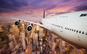 самолет, полет, огни
