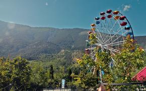 mountain, sky, wheel