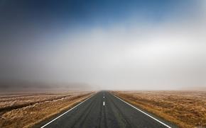 дорога,  небо,  туман