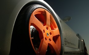 Porsche, arancione, ruota