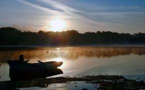 lago, mattina, barca