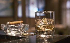 стакан,  виски,  сигара