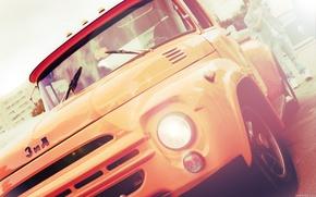 ZIL, mquina, amarelo, carros, maquinaria, Carro