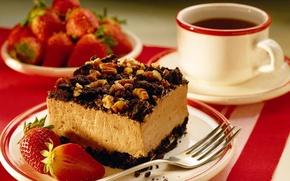 deser, ciasto, herbata, truskawki, spodek