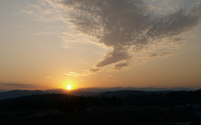 dawn, sun, Mountains, clouds
