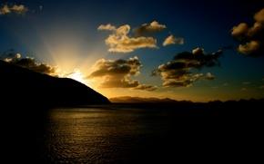 nature, landscape, sea, horizon, Mountains, sky, sunset