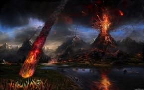 火山, 流星, 河