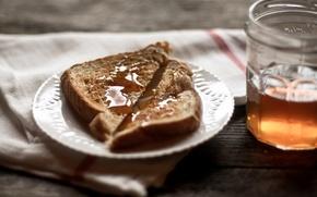 стол,  салфетка,  тарелка,  хлеб,  мед,  баночка