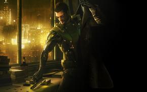 deus ex, human revolution, adam, jensen, city, robot, cloak, gun, Books, whiskey