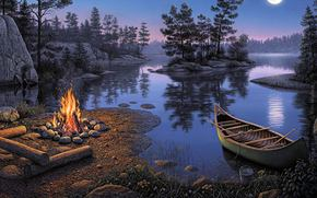романтика, картина, ночь, луна, отдых, туризм, река, лодка, костёр, островок, отражение