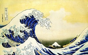 Fuji, wave, Boats, Figure