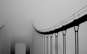 Bridge, fog, black and white