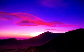 рассвет,  небо,  облака,  горы