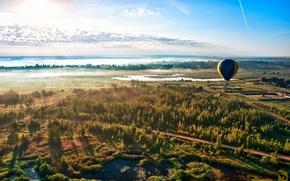 небо,  лес,  дорога,  воздушный шар