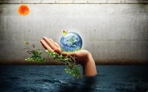 terra, mano, acqua