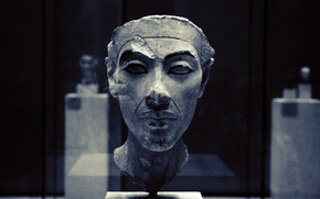 sculpture, face, museum