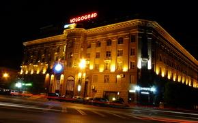Volgograd, night city, Hotel Volgograd