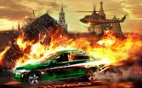 inseguimento, elicottero, Cremlino, auto, macchinario, Auto