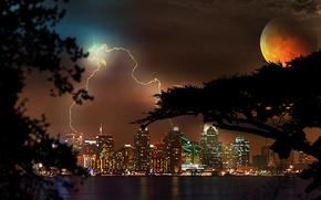 夜, 城市, 风暴, 月亮, 灯火