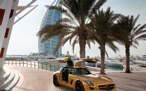 mercedes bens sls, auto, Dubai, Burj Al Arab, auto, macchinario, Auto