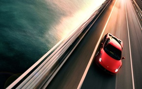 Ferrari, bridge, river, cars, machinery, Car