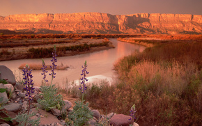 nature, Mountains, horizon, canyon, river, prairie
