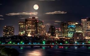 night, city, lights, moon