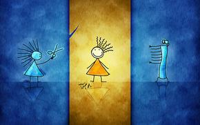 синий, желтый, оранжевый, стекло, стеклянный, девочки, стрижка, урод, парикмахер, панк, плоский, десктоп, бумага, рисунок, детский