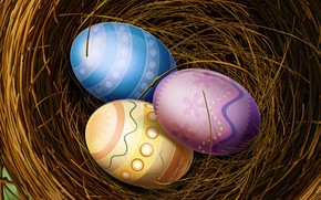 eggs, color, Easter, nest