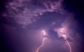 тучи, молния, небо