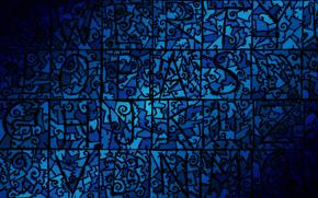 pe ecranul, model, Albastru, falc, mozaic, plat