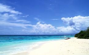 costa, mar, las nubes, horizonte