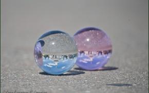 City, people, Balls, reflection, asphalt