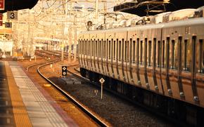 Peron, train, composition, voiture, Rails, chemin de fer, dpt, lumire