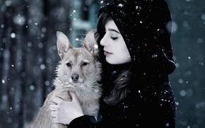 снег,  зима,  девушка,  пёс