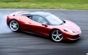 Ferrari, Ferrari, czerwony, Dryfowa, polizg, prdko, samochody, maszyny, Samochd