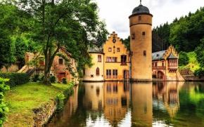 castillo, estanque, bosque