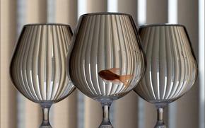 три,  бокала,  золотая,  рыбка