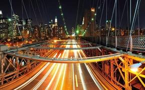 NYC,  night,  city,  lights,  bridge