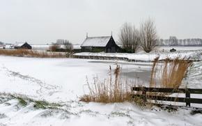 campo, neve, casa