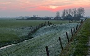 sunset, field, забор