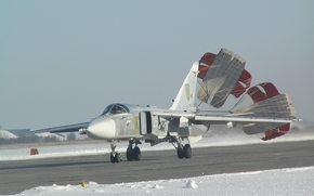 СУ-24М, самолет, посадка, зима, парашюты, авиация