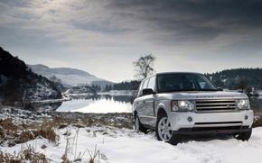 macchina, SUV, Range Rover, neve, lago, Montagne, cielo, auto, macchinario, Auto