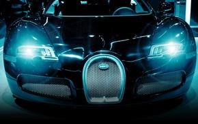bugatti, black, lights, cars, machinery, Car