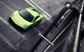 Lamborghini,  зелёная,  ЧБ,  улица,  supercar,  ламборджини, автомобили, машины, авто