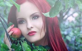 девушка,  яблоко,  красные волосы
