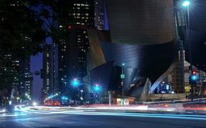 noche, ciudad, luces, Los ngeles, arquitectura